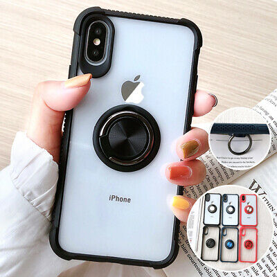 For iPhone 11 Pro XR Case XS Max 8 7 Plus Hybrid Rubber Ring Holder Stand Cover