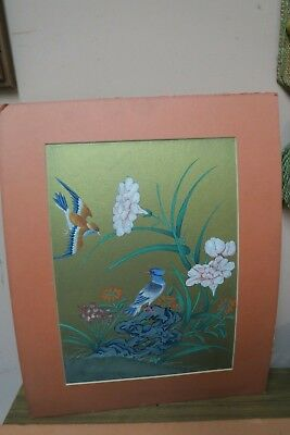 Vintage / Antique Asian Chinese Japanese Watercolor Painting Bird Sacred Lotus .