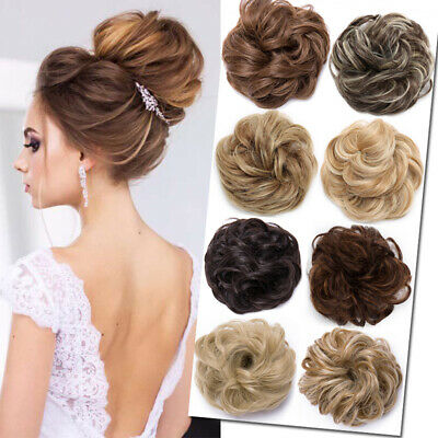 REAL Thick Curly Chignon Messy Bun Updo no Clip in Hair Extension Wrap Scrunchie