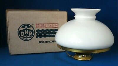 """NOS DHR Marine Oil Lamp White Opal Glass Shade 7 3/8"""" Fitter Made In Holland"""