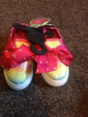 Bn Girls glittery rainbow shoes with bow toddler girl size 5 memory foam new