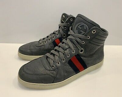 36cec8dad Men's Gucci GG Monogram Leather Shoes High Top Web Stripe Sneakers Size Us  7,5