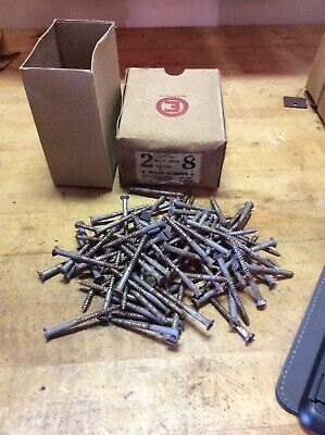 "Vintage The Eagle Lock Co.  2"" #8 Flat Head Steel Wood Screws"