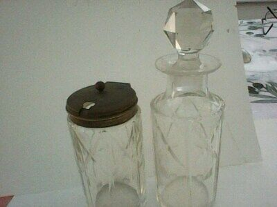 Vintage Cut Glass Condiment EPNS Lidded Pot And Oil Bottle with stopper