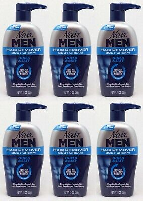6 Nair Men Hair Remover Body Cream Quick & Easy Back, Chest, Arms, Legs 13 oz