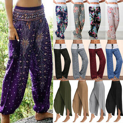 14fa92345c Ladies Loose Floral Yoga Palazzo Trousers Womens Summer Wide Leg joggers  Pants