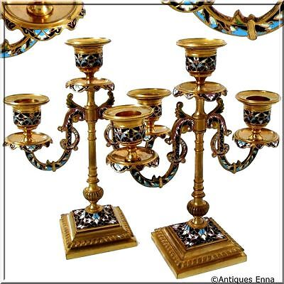 Antique Pair of French Ormolu Bronze Champleve Enamel Candelabra
