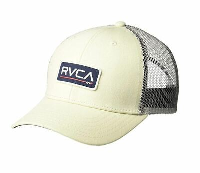 sneakers for cheap 498a3 57b8e NEW RVCA Ticket Mid Fit Trucker Hat Cream Grey Navy Snap Back Cap Snapback