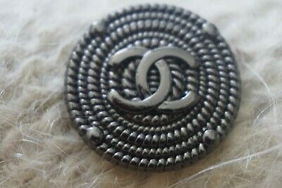 ❤CHANEL BUTTONS  CC LOGO 1  inch 24  mm Dark Silver TONED METAL Lot 5