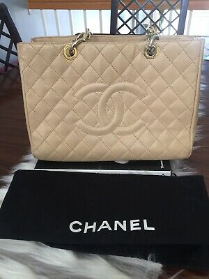 15cb6bd73699 Authentic Classic CHANEL Beige Caviar Leather Grand Shopping Tote Handbag  GST