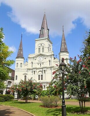 Saint Louis Cathedral with Street Lamp by Britt Johnson S/N  16 x 20 1/2
