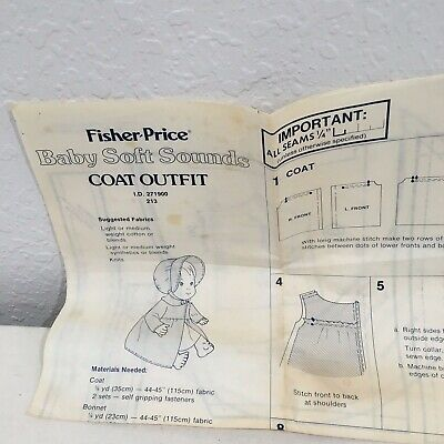 Vintage Baby Soft Sounds Doll Clothes Coat Pattern from Fisher Price New & Uncut