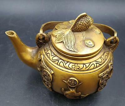 Old China Collectible Relievo wealth Delicate Decor Old brass fish Teapot