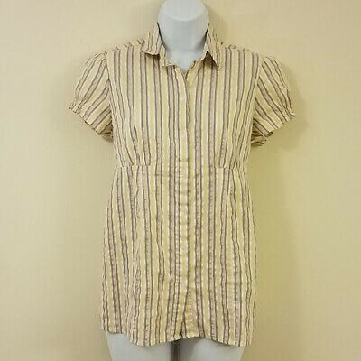 Motherhood Maternity Top Size Small Striped Button Down Baby Doll Collared