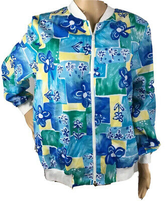 Vintage 80s  Cricket Lane Blue Print jacket Womens Size 12 Made in USA