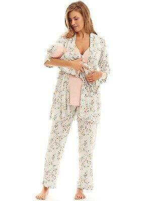 New - Everly Grey - Analise 5 Piece Maternity Nursing PJ Gift Set in Cloud Blue