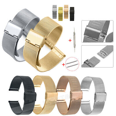Mesh Stainless Steel Milanese Watch Band Link Bracelet Wrist Strap 20mm 22mm