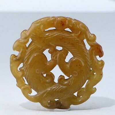 Chinese Exquisite jade Carved pendant statue N1408