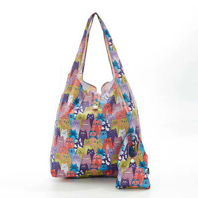 Eco-Chic Foldable Expandable Shopper Bag Multiple Cats