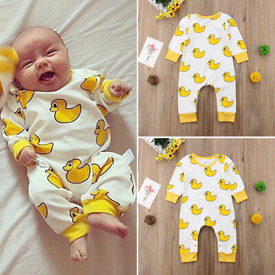 UK Toddler Newborn Baby Boy Girl Cartoon Romper Bodysuit Jumpsuit Outfit Clothes