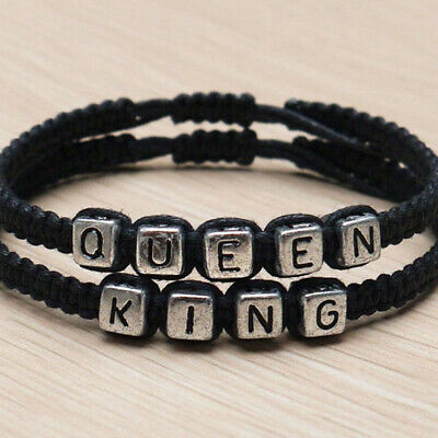 Handmade His and Hers Lovers Matching His Queen Her King Couple Bracelet