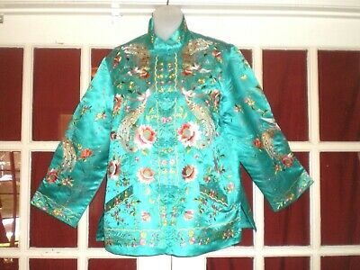 9a62ccf6c Old Chinese Turquoise Silk Jacket/Robe Highly Embroidered Peacocks/Peonies  sz L