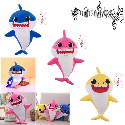 3 Pack Baby Shark Plush LED Toys Music Doll Singing English Song Children's Gift