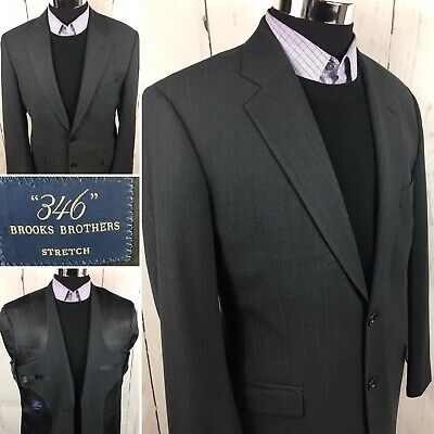 Brooks Brothers 346 Mens Blazer Gray Two Button Wool Blend Lined Stretch 42R