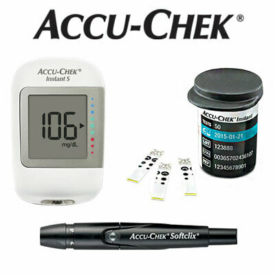 Accu-Chek Instant S Blood Glucose Meter + 50 Test Strips + Softclix Lancing Kit