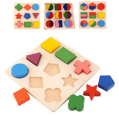 Baby Kids Wooden 3D Puzzle Jigsaw Toys Shape Sorter  Educational Learning Toy
