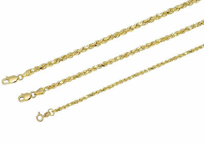 """Real 10k Yellow Gold 2mm-3mm Diamond Cut Rope Chain Pendant Necklace 16""""-32"""""""