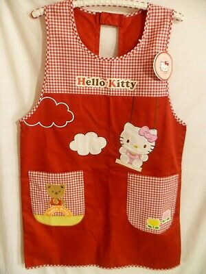 Hello Kitty Adult Red Pinafore Apron Cotton NEW With Tags Sanrio Buttoned Back