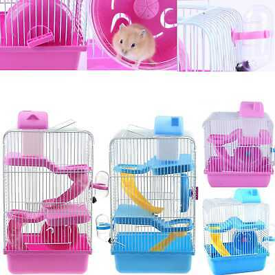 Small Animal Pet House Hamster Mouse Dwarf Gerbil Cage Ladder Water Bottle Wheel