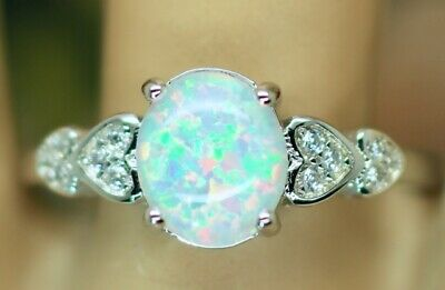 Antique Art Deco Jewellery Ring Opal and White Sapphires Vintage Jewelry Size R
