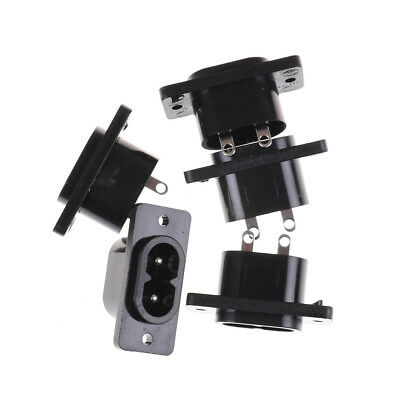 5 Pcs IEC320 C8 Black 2 Terminal Power Plug Inlet Socket AC 250V 2.5A   VH