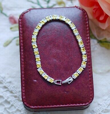 Vintage Jewellery Tennis Chain Bracelet Citrine White Sapphires Dress Jewelry