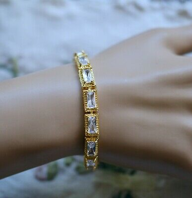 Vintage Jewellery Chain Bracelet With White Sapphires Antique Dress Jewelry