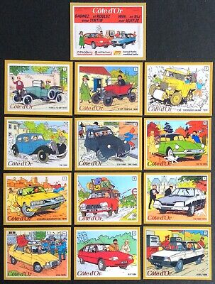 Rare! Tintin Cote D' Gold Series Full of 13 Magnets Citroen 1984 Mint