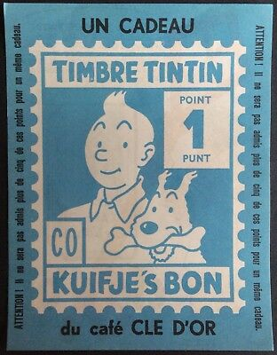 Tintin Stitch Stamp Gift of Coffee Key D'or Format 14 x 11 cm Perfect Condition