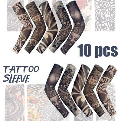 10pcs Tattoo Cooling Arm Sleeves Cover UV Sun Protection Basketball Sport Unisex