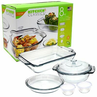 NEW KITCHEN CLASSICS 8 PCE BAKEWARE SET Container Dish Glass Bowl Lid Casserole
