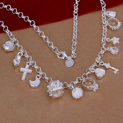 Silver 925 women Fashion wedding Cute lady Charms pendant Necklace Jewelry N021
