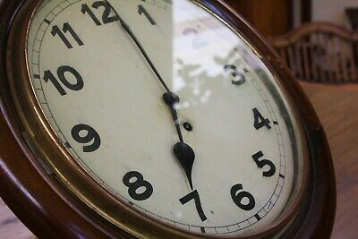 Large Antique Vintage Old Rich Wooden Brass & Glass Railway Station Clock