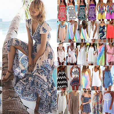 Women Summer Holiday Beach Bikini Cover Up Boho Casual Sun Mini Dress Sundress