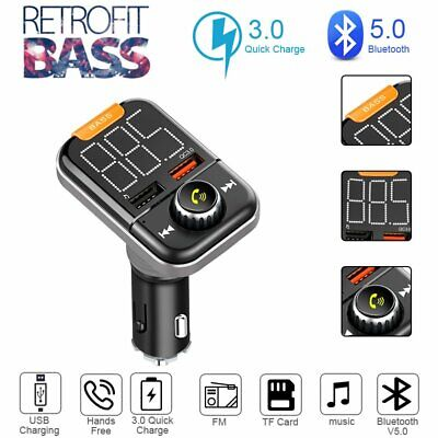 2019 NEW Bluetooth V5.0 Wireless FM Transmitter Car Radio Stereo Bass USB Charge