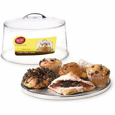 """TableCraft 12"""" Plastic Cake Dome Cover And 13"""" Stainless Steel Plate Set Stands"""