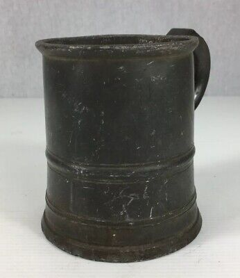 Antique Pewter Pint Measure Tankard 11.5cm In Height