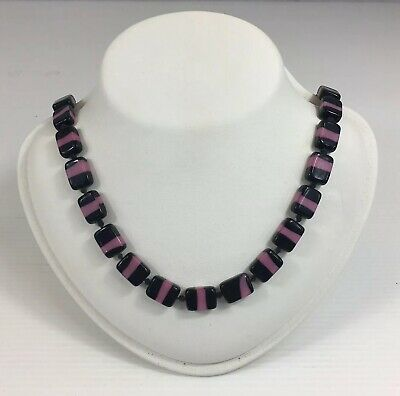 Vintage Art Deco Pink & Black Square Glass Bead Necklace 127cm In Length