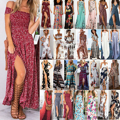 Womens Maxi Boho Floral Summer Beach Long Dress Party Cocktail Sundress Holiday