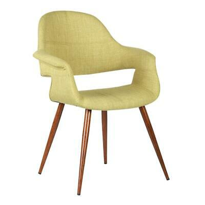 Phoebe Mid-Century Dining Chair in Walnut Finish and Green Fabric
